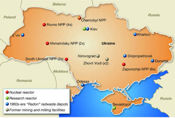 Main nuclear facilities in Ukraine