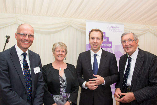 Pictured (l-r): Dr. Paul Howarth - NNL, Jean Llewellyn - NSAN, Matthew Hancock MP - Minister of State for Energy, The Rt Hon the Lord Jenkin of Roding