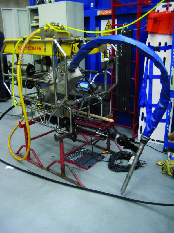 The freeze sampler probe attached to a ROV via a manipulator arm