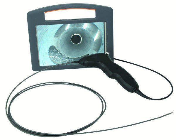 The MicroEye Mobile videoscope from Ultrafine Technology of the UK, 1.5kg, has an integral 8-inch touch screen and cable handle buttons.