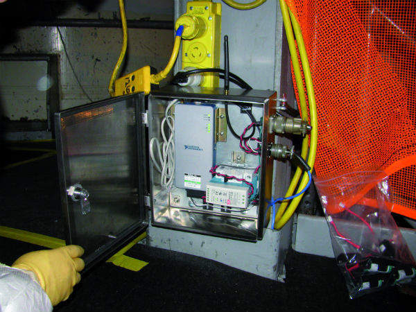 Sensor enclosure installed to monitor the level of the oil in the collection tank at Arkansas Nuclear One