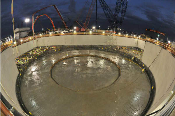 Georgia Power successfully placed the basemat structural concrete for the nuclear island at the Vogtle Unit 4 nuclear expansion site near Waynesboro, Georgia on 21 November (PRNewsFoto/Georgia Power Co.).