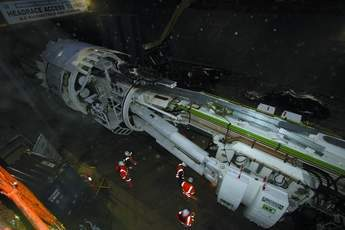 TBM enters the tunnel