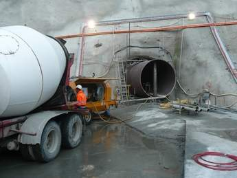 Liner being concreted