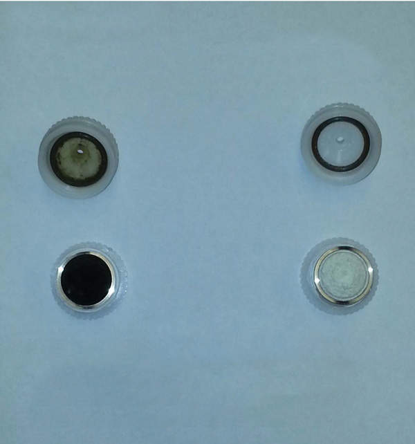 Figure 2: Split filter holders showing uppers (at top) and lowers with exposed filters