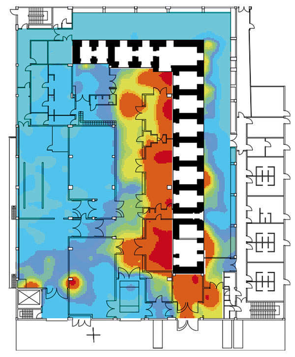 Figure 4: An example of geostatistical structure characterization using a 1.5m regular grid to determine sampling locations for a concrete contamination assessment