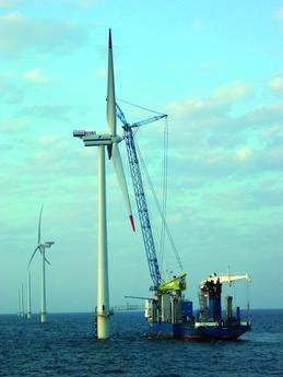 Devil's reef off-shore wind farm turbine