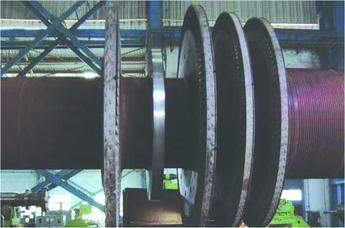 Figure 2. Rotor prepared for weld buildup