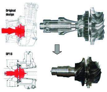Comparison of original Kongsberg radial gas turbine with the OP16