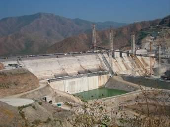 Yeywa RCC dam under construction in Myanmar, in January