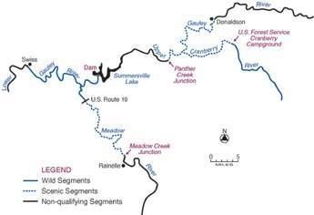 Summersville Lake river network