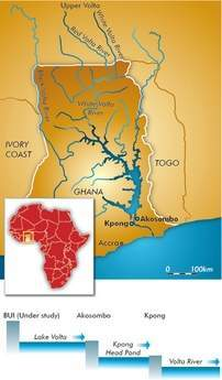 Figure 1 - Location map of Ghana with Akosombo and Kpong plants on the lower Volta river