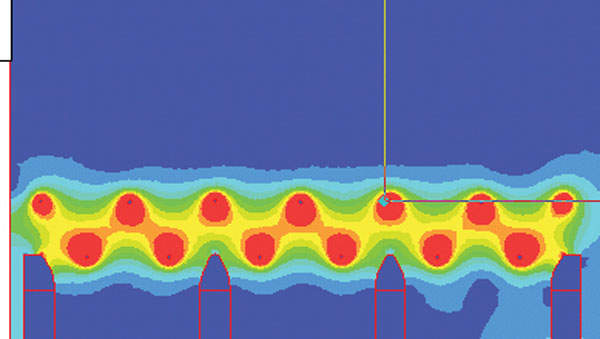 Figure 1: Simulated electrical field intensity in a fish barrier