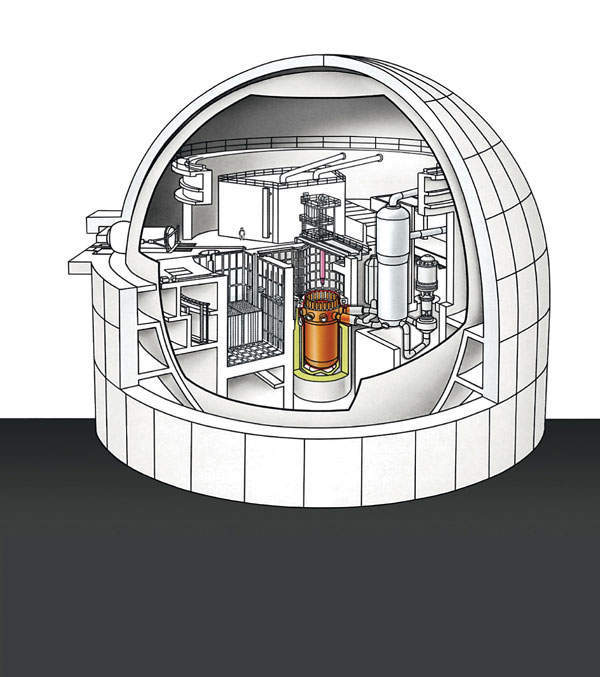 PWR cross-section with reactor vessel highlighted