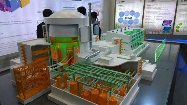 Hualong 1 reactor model shown on the CNNC stand at the Nuclear Industry China Expo 2014