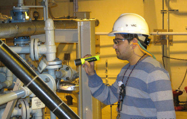 Amar Patel, an NRC resident inspector at the Hope Creek Nuclear Plant, conducts an inspection