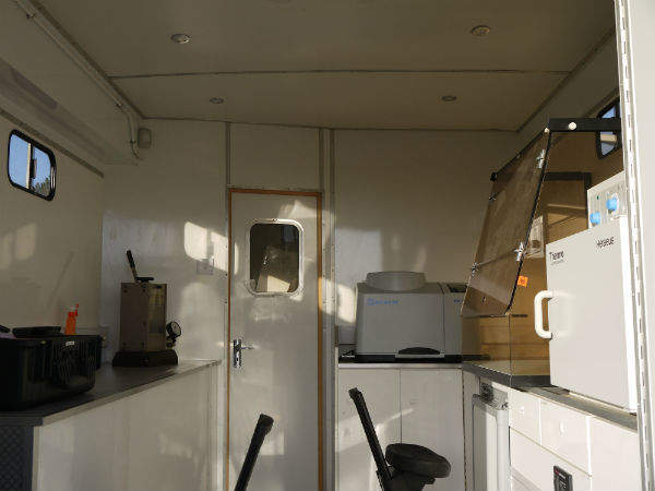 The mobile radiochemistry lab has two areas: one for sample preparation and the other for analysis