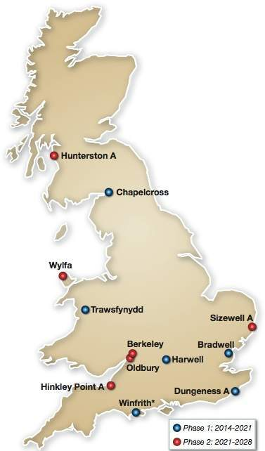 Map of Magnox/RSRL* sites with timescales for entering care and maintenance/interim end state*
