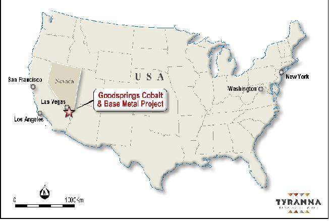 Goodsprings Cobalt & Base Metals Project Location Map