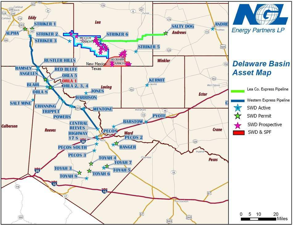 NGL Energy Partners LP Deleware Basin Asset Map