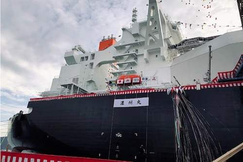 Mitsubishi Shipbuilding holds christening ceremony for next-generation LNG Carrier 'Nohshu Maru'