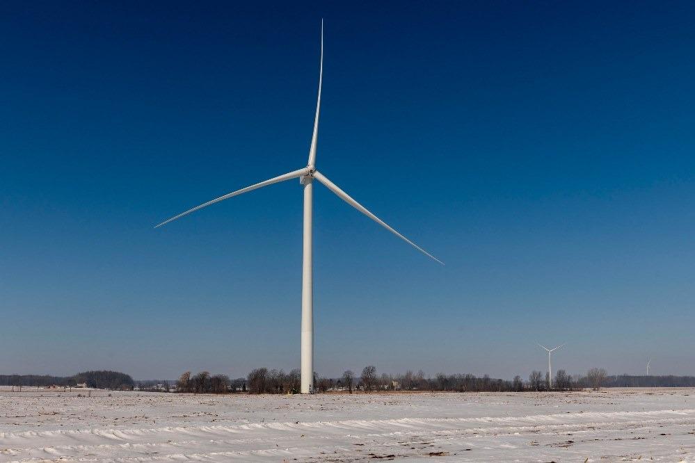 A turbine at Pine River wind park.