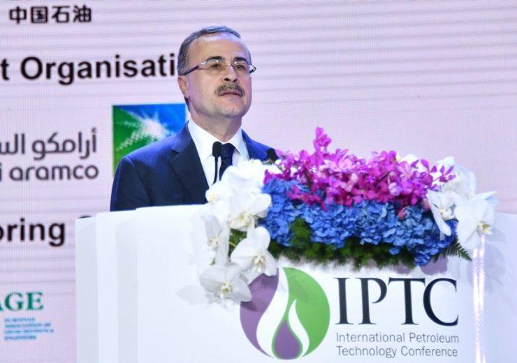 Saudi Aramco CEO Amin Nasser speaking at IPTC 2019 in Beijing, China