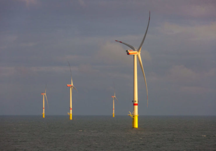 Turbine installation at North Sea wind farm Deutsche Bucht is pr