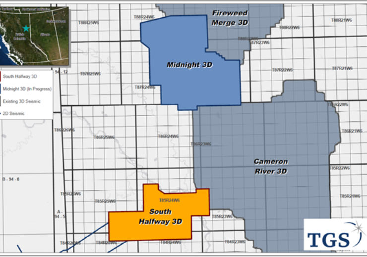 TGS commences onshore seismic acquisition for additional Montney Basin 3D project in Canada