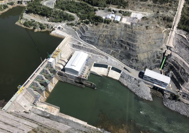 Aerial View of Oxec II project with Oxec I powerhouse on the downstream side