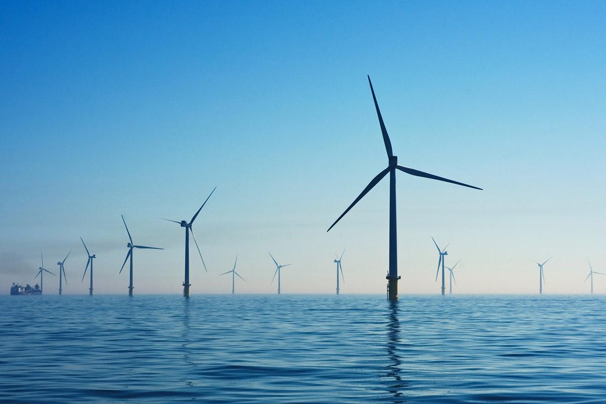 offshore-wind-farm-blue-sky-sunset-sunrise
