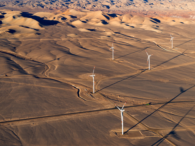 Wind turbines - Aerial view of an Eolic park in the Atacama Desert outside the city of Calama, Chile