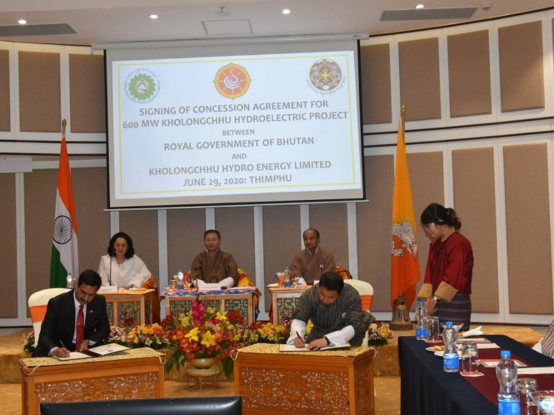 Concession Agreement for 600MW KHEP Signed on June 29, 2020 in Thimphu