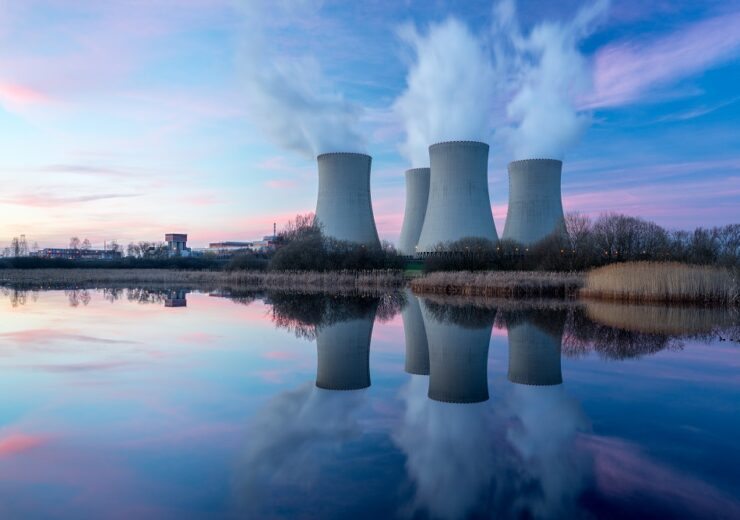 Nuclear,Power,Plant,After,Sunset.,Dusk,Landscape,With,Big,Chimneys.