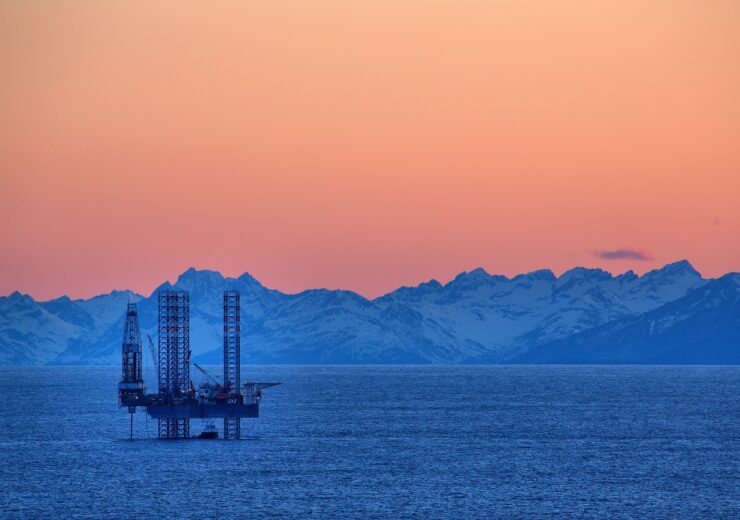 Sun,Sets,On,The,Cook,Inlet,And,This,Drilling,Rig.