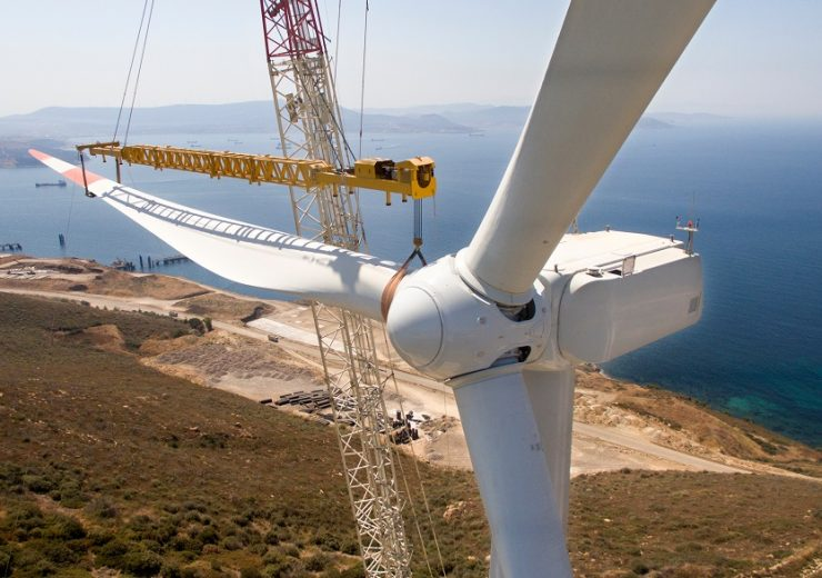 Installing,Of,Wind,Turbines,With,A,Crane,,Power,Plant,Close