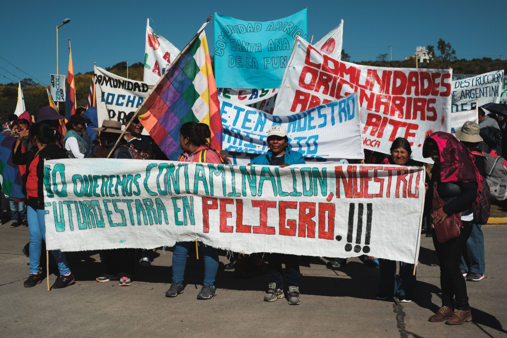 Indigenous people protesting against exploitative mining