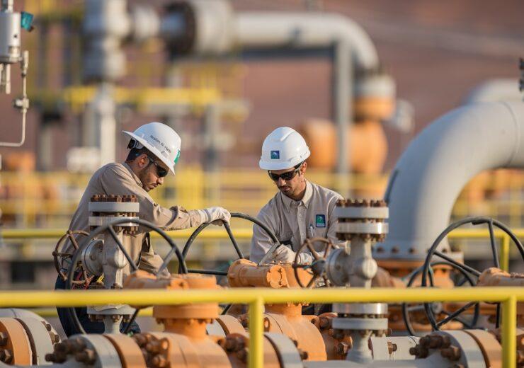 Operators at a Saudi Aramco Facility