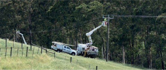 The above photograph shows Amokabel covered conductor installations in Australia